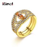 Kinel אופנה טבעות זירקון שיבוץ צורת אליפסה צבע עם צבע כסף זהב חתונה לנשים פופולרי מתנות חג מולד טבעת