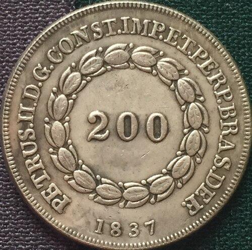 1837 Бразилия 200 Reis Монеты Скопируйте Бесплатная доставка