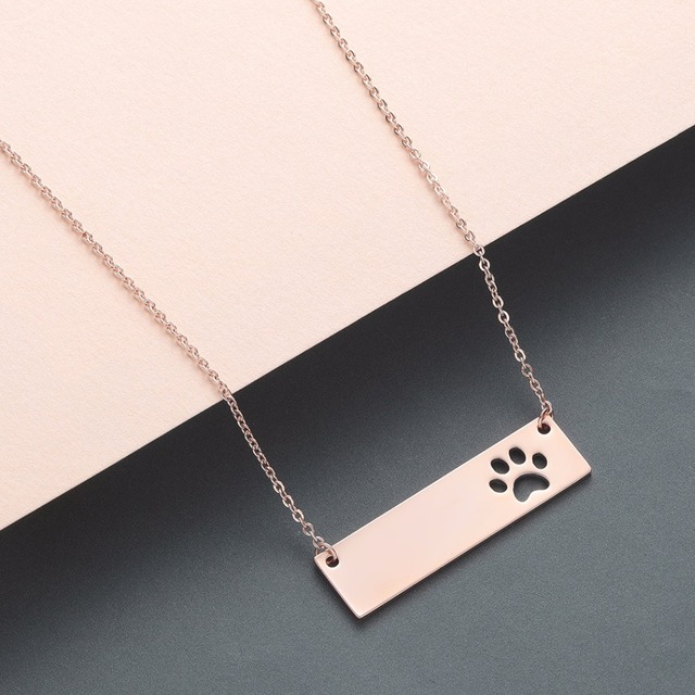 Cat Dog Paw Necklace Pendant Geometric Bar Stainless Steel Jewelry Pet Lover Gift Women Necklace Cute Baby Gift 2