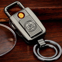 On sale Creative LED Flashlight Keychain Ignition USB Charger Electronic Retro Cigarette Lighter Birthday Gift Sculpture Pattern