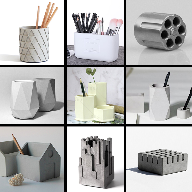 Square Cement Pen Holder Silicone Molds And Concrete 16 Holes In A DIY Craft Board To Receive Molds