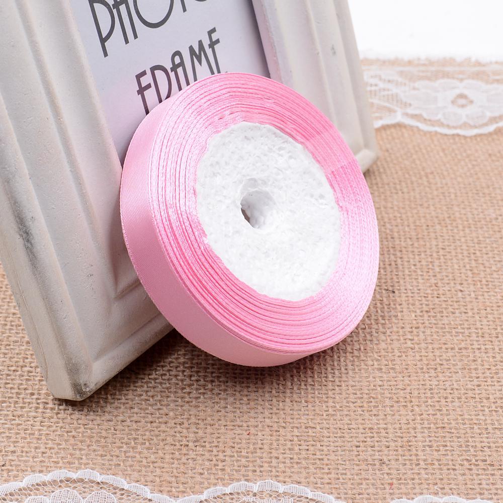 Ткань 10 мм 25 ярдов Белый Шелковый Атласный органза полиэстер лента для шитья Свадебная вечеринка украшение тесьма для рукоделия Подарочный упаковочный пояс - Цвет: 24