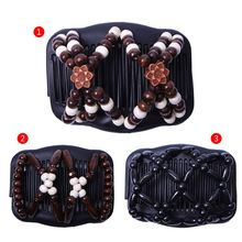 Magic Comb Floral EZ Updo Women Stretchy Double Hair Beauty Beaded Girls Hairpin magic hair comb beaded double stretch fashion elastic women clips diy hairstyle