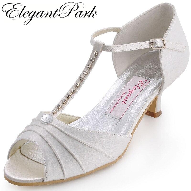 Summer Women Shoes Wedding Bridal White Ivory Low Heel T Strap Satin Ladies Bride Bridesmaid Prom