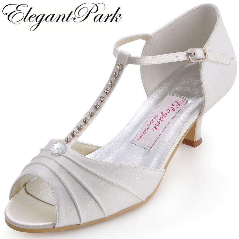 Summer Women Shoes Wedding Bridal White Ivory Low Heel T-Strap Satin Ladies Bride Bridesmaid Prom party pumps red blue EL-035