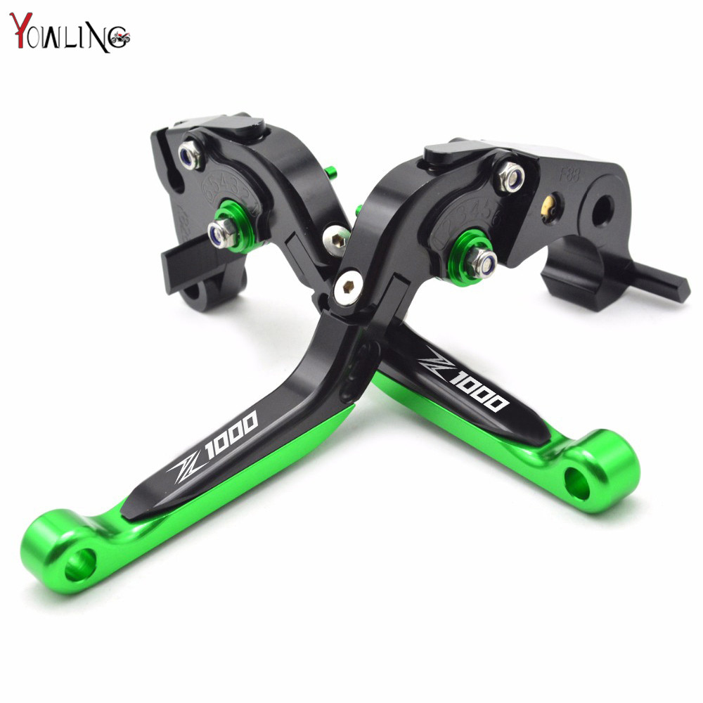 Logo(Z1000) Green+Black Motorcycle Brake Clutch Levers For kawasaki Z1000 2007 2008 2009 2010 2011 2012 2013 2014 2015 2016 car rear trunk security shield shade cargo cover for nissan qashqai 2008 2009 2010 2011 2012 2013 black beige