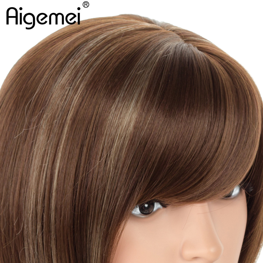 Aigemei 12Inch Short Straight Bob Wigs Mixed Blond and Brown Highlighted Bob With Bangs Synthetic Women Cosplay Or Party Bob Wig