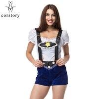 Corstory Women Sexy Lederhosen Costume Oktoberfest Beer Girls Costume Halloween Bar Maid Carnival Uniform