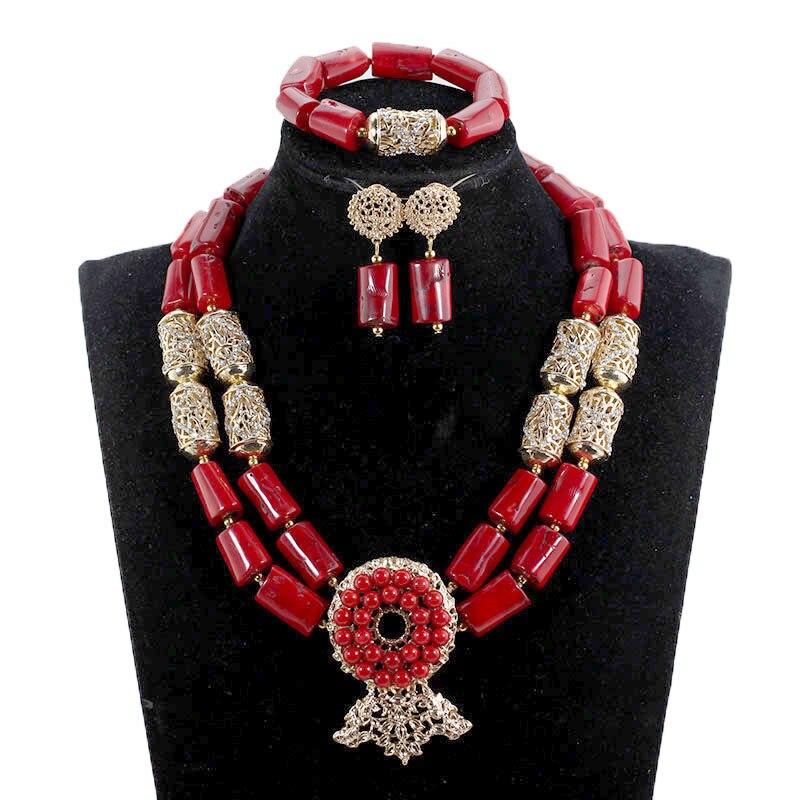 Fantastique vin rouge perles de corail africain bijoux de mariage ensembles Chunky bavoir véritable corail collier de mariée ensemble 2018 CNR087