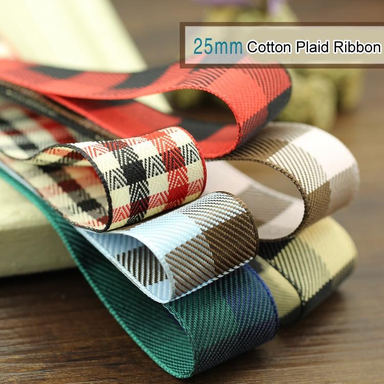 New Geometric British Style Plaid Ribbon 25mm cotton Satin Ribbon DIY - Arts, Crafts and Sewing