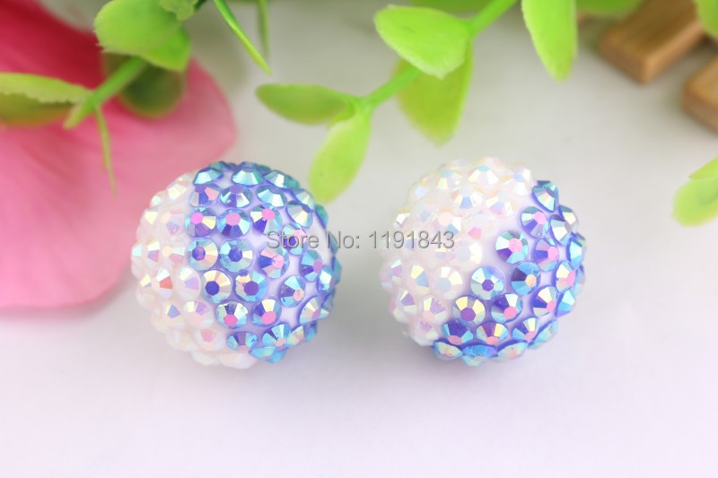 Adaptable Kwoi Vita Dark Blue/white Ab Color 20mm 100pcs/lot Chunky Resin Solid Rhinestone Beads Ball For Kids Girls Jewelry Making Highly Polished Beads & Jewelry Making Beads