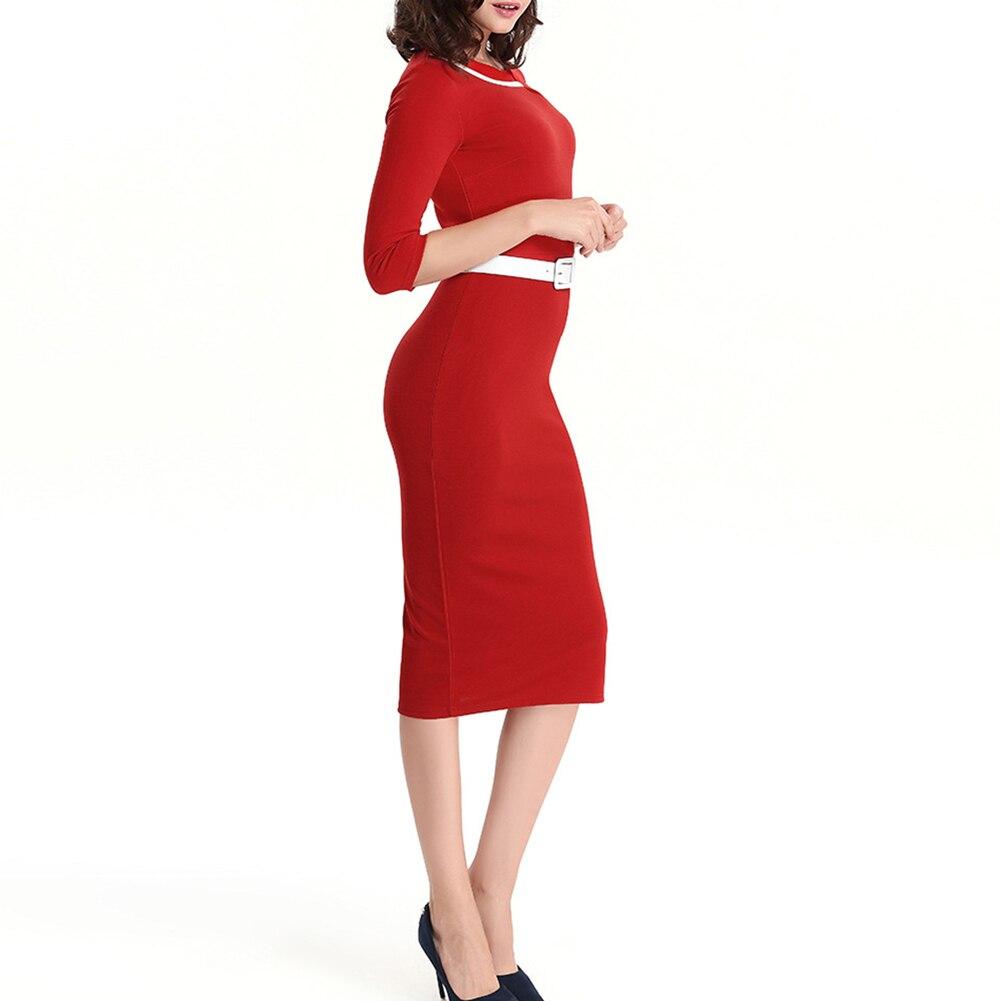 Women O-neck 3/4 Sleeve Slim Fit Dress Work Office OL Business Pencil Dresses with Belt FS99