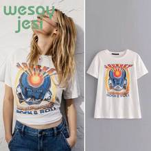 t-shirt women england style vintage Robot cartoon printing o-neck cotton boyfriend drop shoulder 2019new t shirt tops