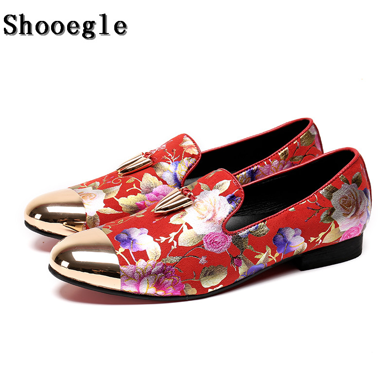 SHOOEGLE Men Fashion Wedding Dress Shoes Red Printing Flower Shiny Metal Toe Loafers Shoes Men Nightclub Shoes Size 38-46