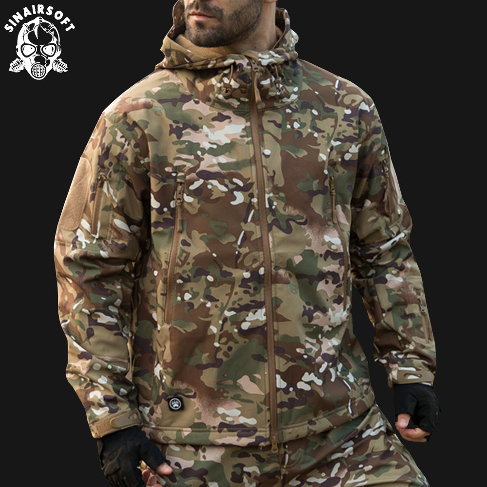 SINAIRSOFT 2019 Hunting clothes Outdoor Shark Skin Tactical millitary Softshell Jacket Suit Men Waterproof Combat Jacket