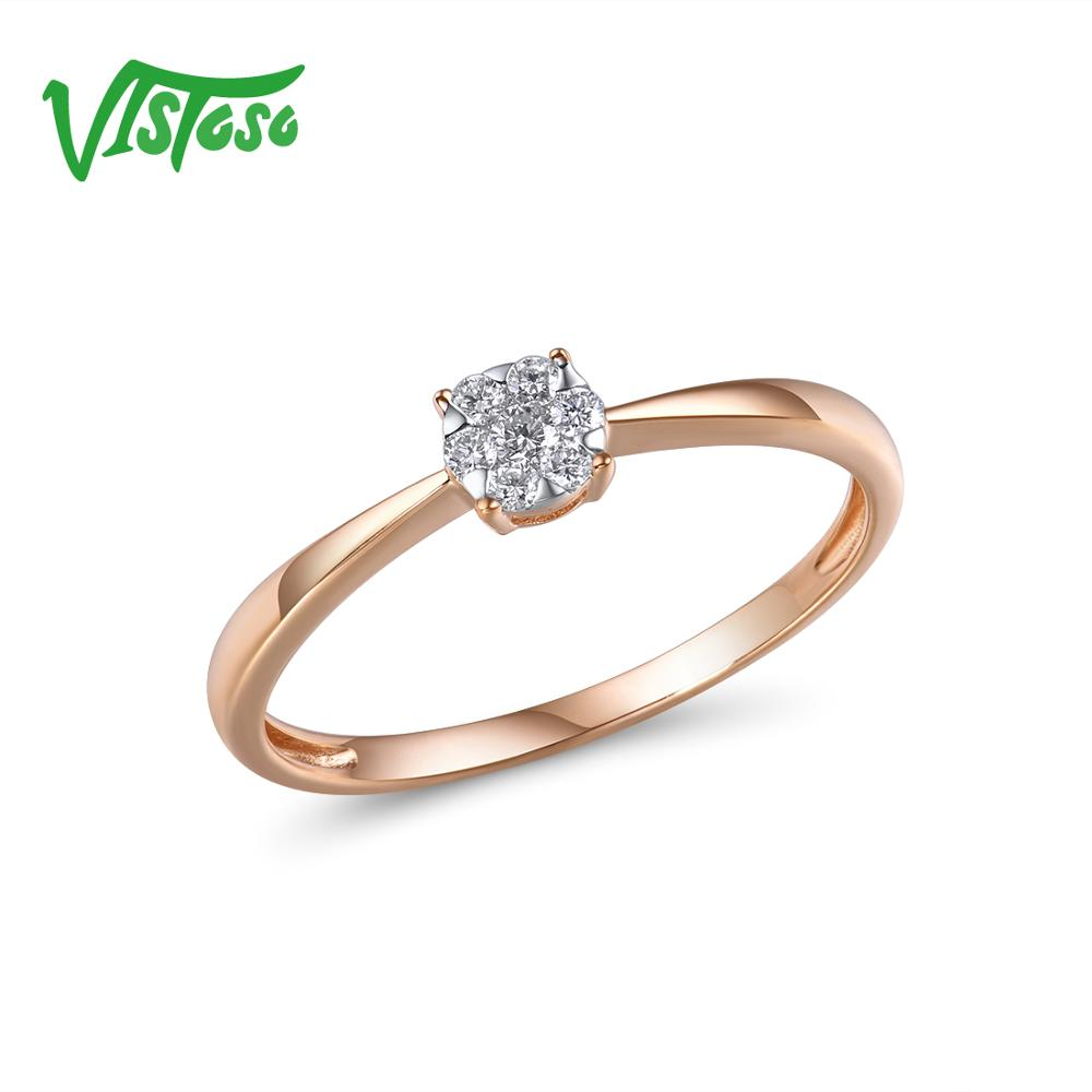 VISTOSO Pure 14K 585 Rose Gold With Sparkling Diamond Delicate Round Ring For Women Anniversary Engagement Trendy Fine Jewelry