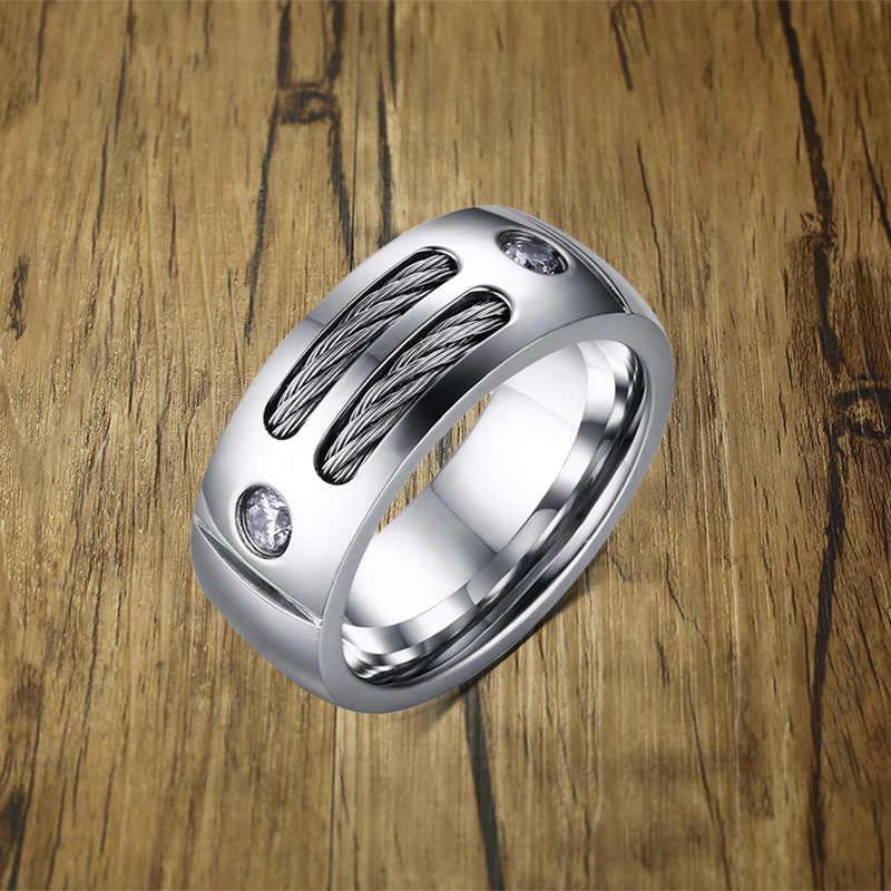 Мужской Двойной кабель инкрустированный куб циркония Куполообразное кольцо для мужчин нержавеющая сталь Обручальное Серебро Тон мужской West Coast ювелирные изделия