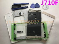 Full Housing Cover Case Middle Frame+Battery Cover+Front Screen Glass Lens For Samsung Galaxy J7 J710 J710F 2016 Replacement