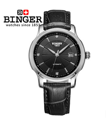 Men Sport Bell Big Steel Case Classic Big Black Dial Cow Leather Strap Binger Watch Automatic