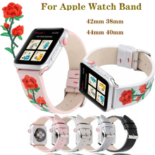 Leather embroidery Rose Bracelet strap for apple watchband 4 44/40mm men/women watch accessories iwatch Series 3 2 1 42/38mm