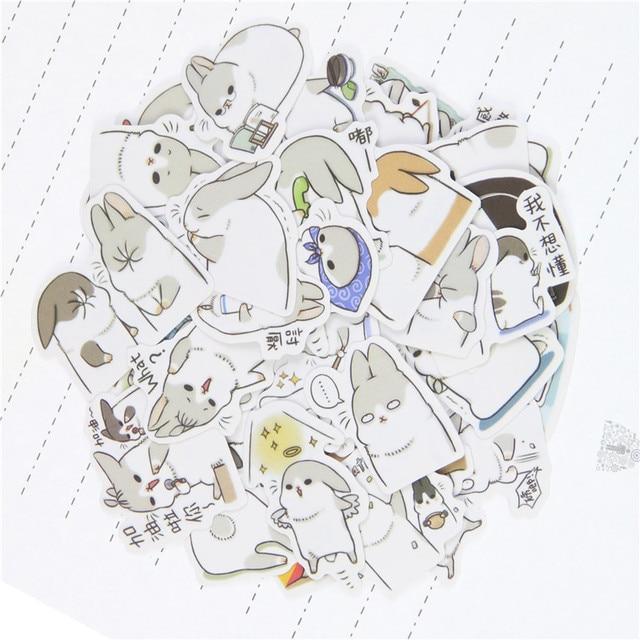 80Pcs/2Bags New Kawaii Chubby Rabbit Series Pet Sticker Pack/hot Sell Deco Packing Stickers/school Office Supplies