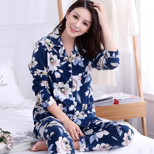 Brand Autumn Long Sleeved Women s 100% Cotton Pajama Sets Elegant Sleepwear  Girls Pyjamas Pajama Mujer Lady Casual 3XL Homewear 81b95a99f