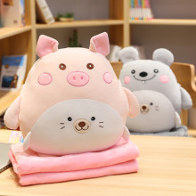40cm+90*170cm Blanket Cute Bear Chicken Pig Dog Plush Toy Stuffed Soft Kawaii Animal Pillow Lovely Gift For Kids Baby Children rainbow teddy bear kawaii cute molang potato plush toy kids toy baby toy soft pillow plush wedding decoration anime kids gift