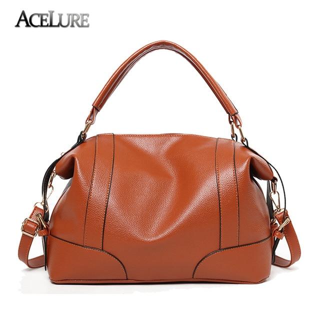 Acelure Classic Soft Leather Handbags Women Tote Zipper Las Shoulder Bag Quality Hobos Bags