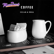200ml European Milk Jugs with Handle Sugar Bowl Coffee Container Porcelain Pure White Accessories Barista Tools Decortion