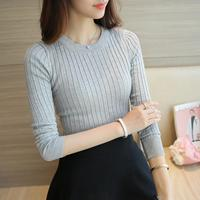 Women Sweater Pullover Basic Rib Knitted Cotton Tops Essential Jumper Long Sleeve Sweaters Autumn Winter 2017