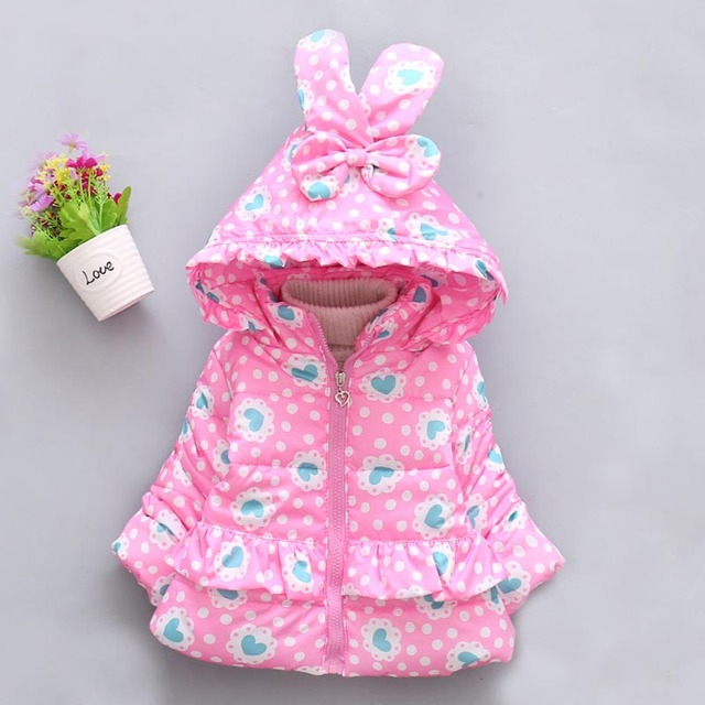 9b5d10d3e3ab5 Winter New Girls Love Dots Hooded Infant Jacket Mantle Cotton Padded Baby  Clothes Nei Spun And Thicker Children's Wear Jacket.