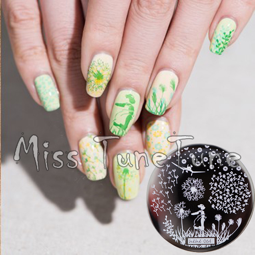 New Stamping Plate hehe64 Flower Dandelion Floral Fresh Nail Style Nail Art Stamp Template Image Transfer Stamp