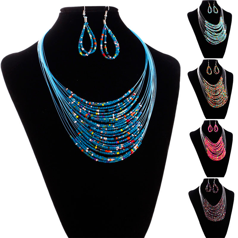 2017 Hot Fashion Trendy Style Jewelry Multicolor Multi layer Resin Beads Necklaces and Earrings Set Elegant