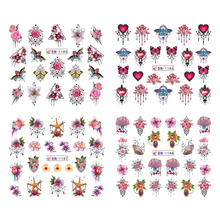 12pcs Nail Water Decals Colorful Nail Jewelry Rose Shell Slider Stickers Nail Art Polish Temporary Tattoos Transfer Sticker стоимость