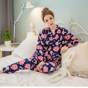 Japoński wiśniowy śliczny królik piżama zestaw Kimono garnitur dres bawełniany gaza szlafrok najlepsze spodnie damskie bielizna nocna