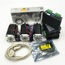 Дешево! 3 оси Nema23 мотор 6,3 V 3A 350 oz-in+ Драйвер DM542+ блок питания для W, 36VDC+ DB25 коммутационная плата