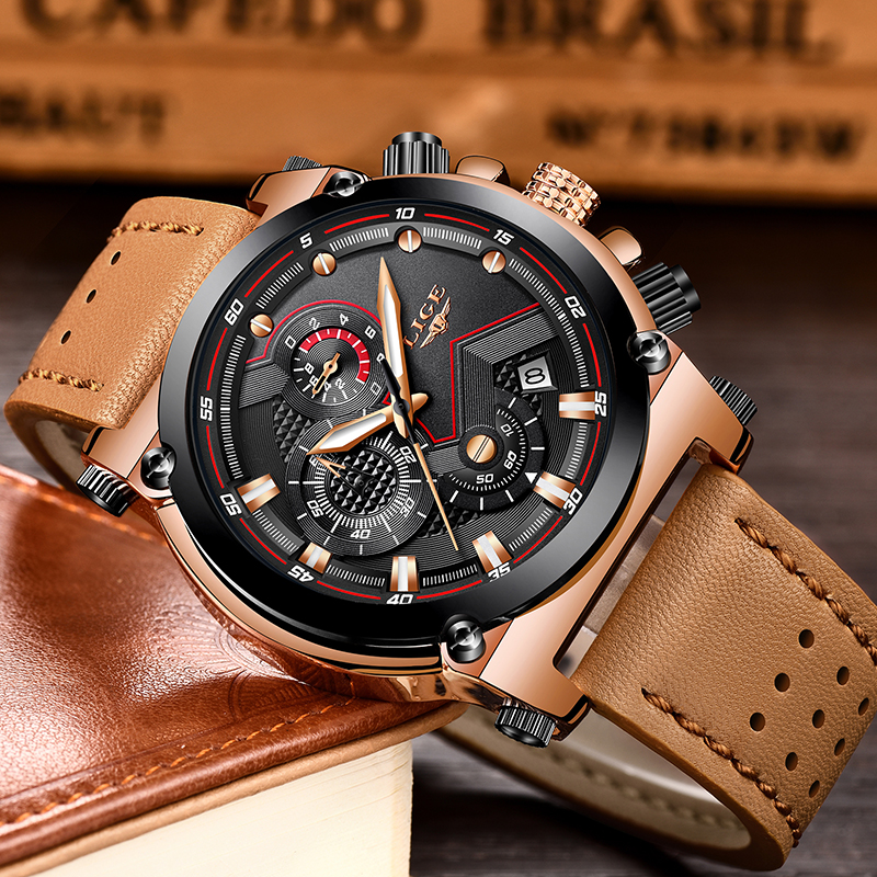 2018 LIGE herrklockor Business Top Luxury Brand Quartz Watch Herr - Herrklockor - Foto 2
