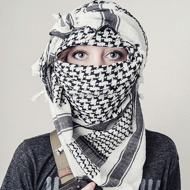 Military Arab Keffiyeh Shemagh Scarf Winter Shawl Neck Warmer Cover Head Wrap Cotton Windproof Tactical Hiking Scarf Men Women