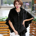 Real Mink Fur Women Outwear Natural Solid Color Zipper Style New Female Elegant Coats  Knitted Half Batwing Sleeve Fur Cape