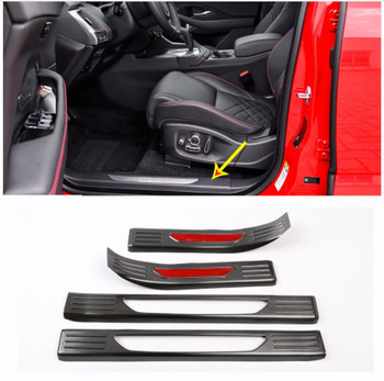 4pcs Stainless Steel Back Car Interior Door Sill Protect Plate Panel Cover Trim For Jaguar E-PACE E PACE 2018 2019