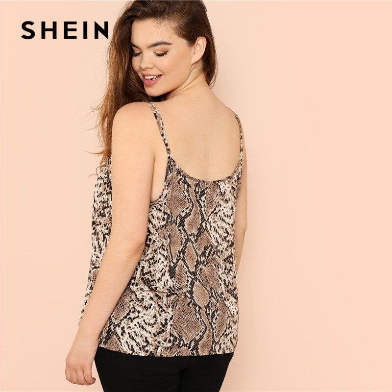 SHEIN Plus Size Snake Skin High Street Women Camis Sleeveless Spaghetti Strap Tops 2