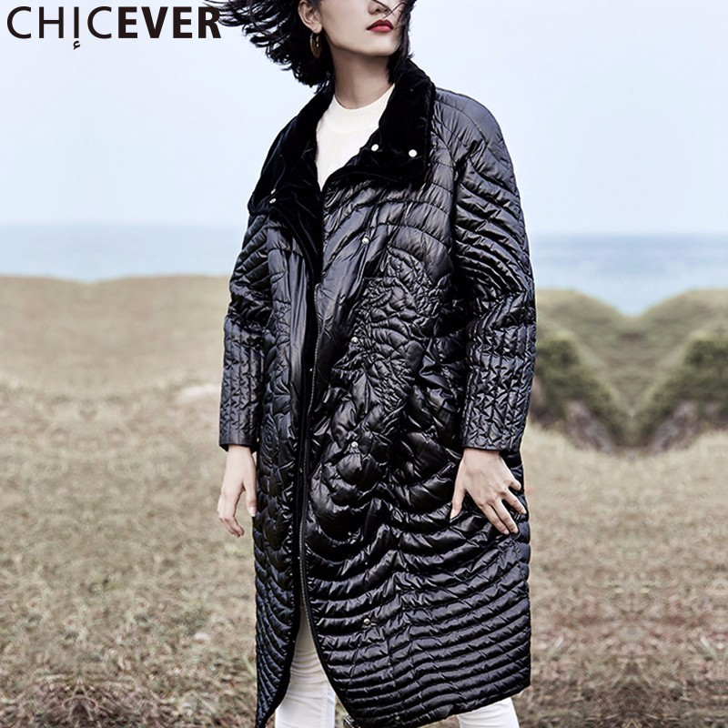 CHICEVER Embroidery Black Plus Size Female Winter Jacket Women Coat Thicker Warm Loose Women's Down Jackets Fashion Clothes 2017 цены онлайн