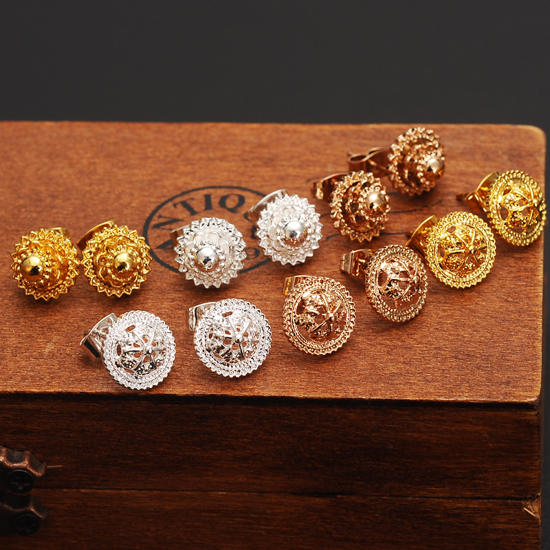 12pairs silver Earrings Ball Women Girl baby Jewelry Fashion white gold Jewellry Ethiopia Sphere Round stud Earring kids GP gift
