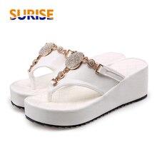 e14768bbcacff8 Summer Women Platform Flip Flops Rhinestone Sandals 6cm High Wedge Heel  Outdoor Beach Crystal Bohemia Flat Thong Lady Slippers