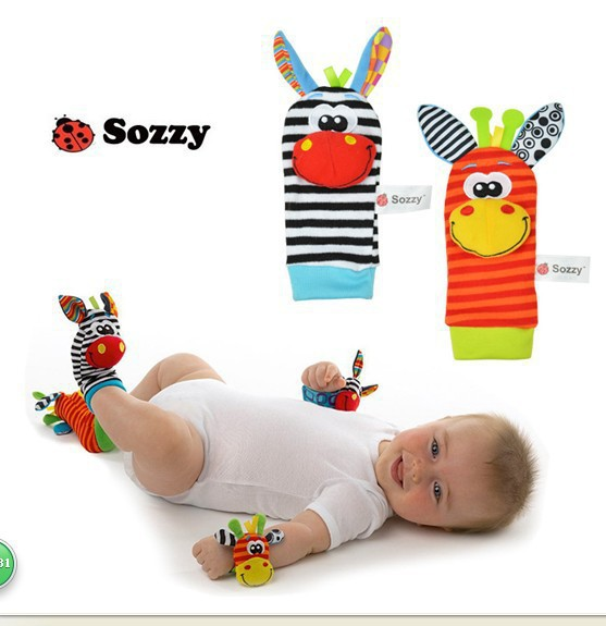 SOZZY Free shipping Baby Rattles Toys Animal Socks Wrist Strap With Rattle Soft Baby Foot Socks Bug Wrist Strap