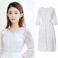 Summer 2019 Zhao Liying Star Seaside Resort Beach Fairy Chiffon Embroidered Dress 8742