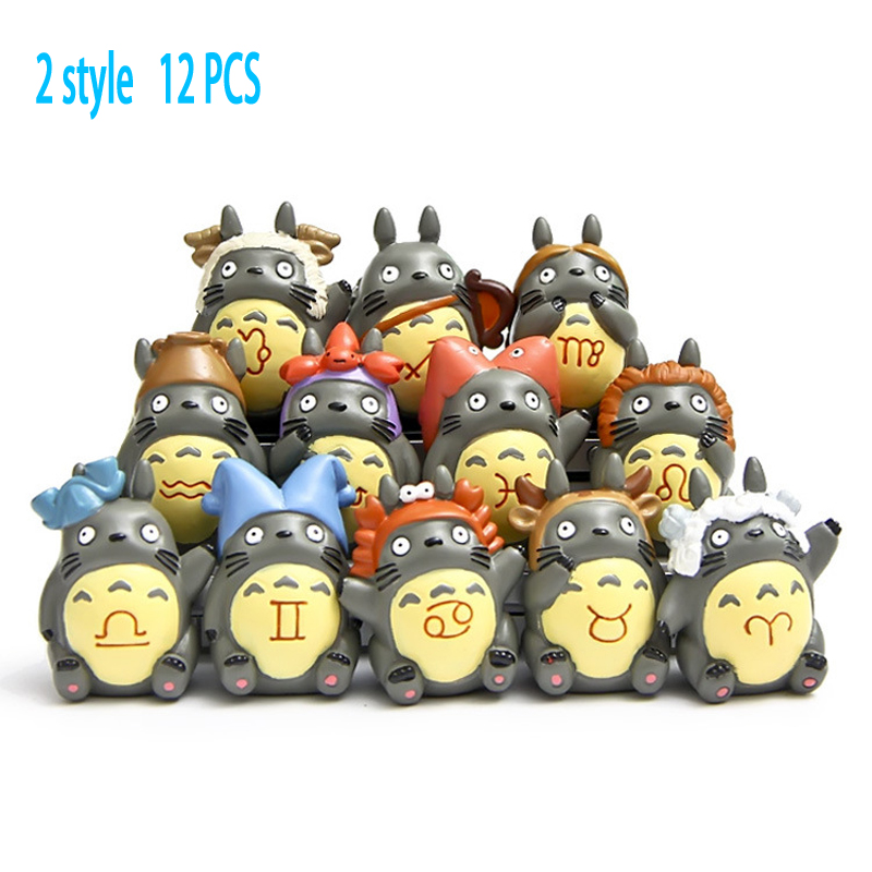 12 pcs Anime cartoon lovely cute garage kit figures 12 Totoro constellation cat toy Decoration resin hard gift for 8+ years old cute resin saving pot money box cat cartoon figure toy for home decoration