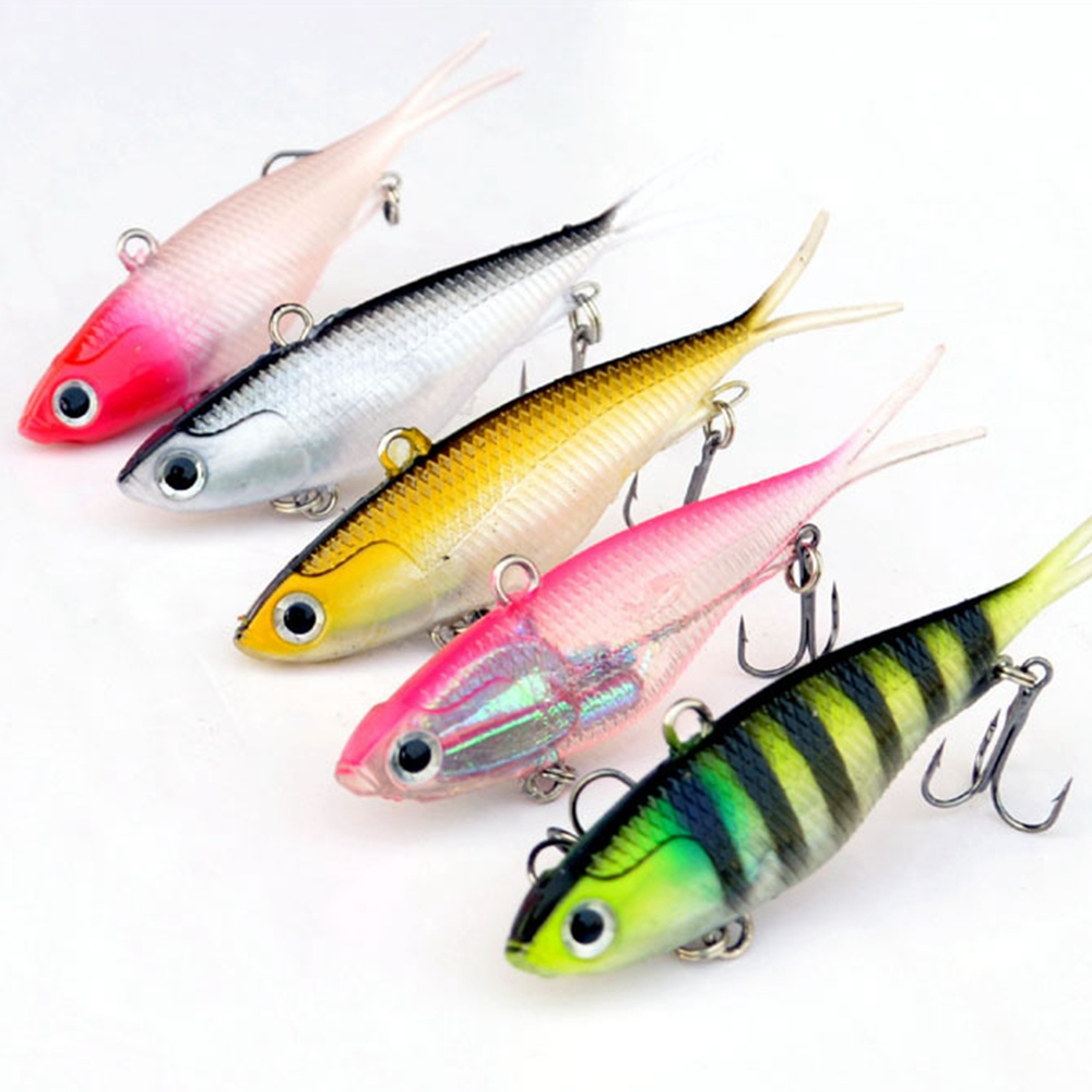 US $5 96 30% OFF|3Pcs Soft Baits PVC Material Fishing Lure Soft outer Body  with Internal Lead Saltwater Fishing Tackle 3D Eyes Wobblers 95mm 20g-in