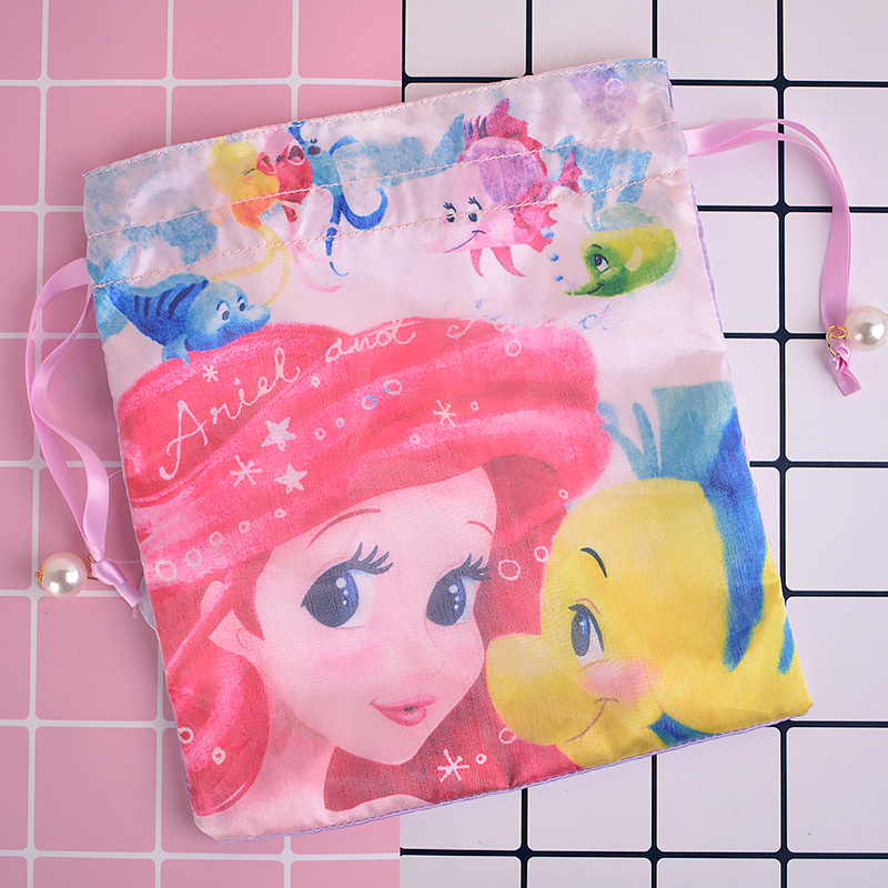 IVYYE 1PCS Mermaid princess Cartoon Drawstring Bags Cute Silk Storage Handbags makeup bag Coin Bundle Pocket