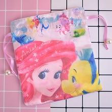 IVYYE 1PCS Mermaid princess Cartoon Drawstring Bags Cute Silk Storage Handbags makeup bag Coin Bundle Pocket Purse NEW